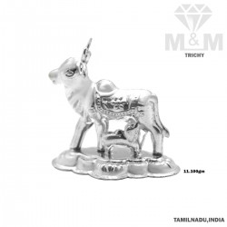 Hallowed Silver Cow And Calf Idol (Gomatha / Kamadhenu)