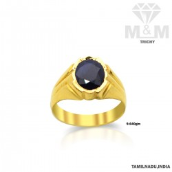 Gallant Gold Blue Sapphire Stone Ring
