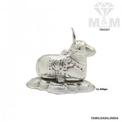 Sparkling Silver Nandi Idol