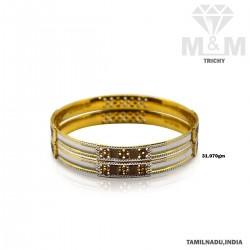Glorious Gold Fancy Rhodium Bangle