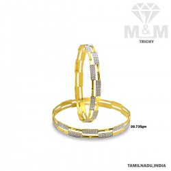 Folk Gold Fancy Rhodium Bangle