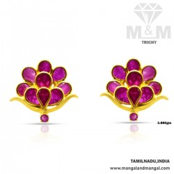 Scenic Gold Ruby Stone Earring