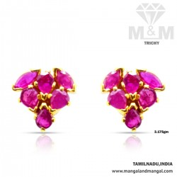 Superb Gold Ruby Stone Earring