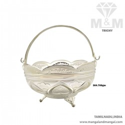 Graceful Silver Pooja Basket