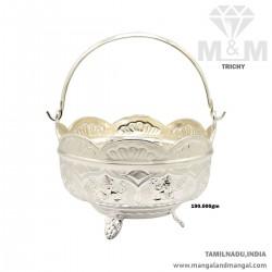 Haunting Silver Pooja Basket