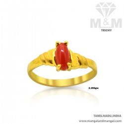 Pleasing Gold Women Coral Ring