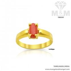 Elegance Gold Women Coral Ring