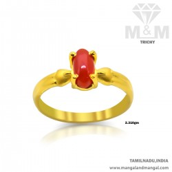 Captivating Gold Women Coral Ring