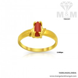 Dramatic Gold Women Coral Ring