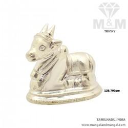 Elegant Silver Lord Nandi Idol