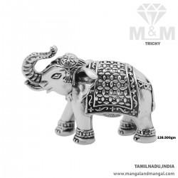 Eminent Silver Elephant Idol