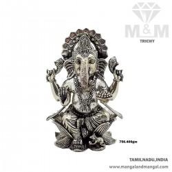Glorious Silver Atique Ganesha Idol