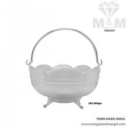 Flamboyant Silver Pooja Basket