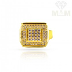 Vivid Gold Casting Stone Ring