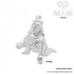 Colorful Silver Krishna Idol