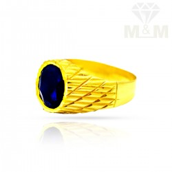 Beauteous Gold Blue Stone Ring