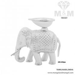 Vivacious Silver Elephant Idol