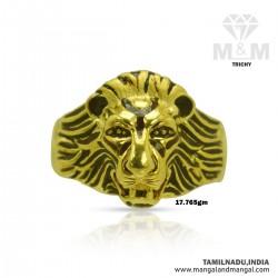 Beauteous Gold Men Lion Ring