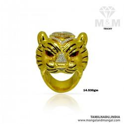Gallant Gold Men Tiger Ring