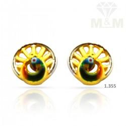 Vibrant Gold Peacock Earring