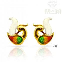 Vivacious Gold Peacock Earring