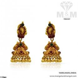 Resplendent Gold Women Antique Earring
