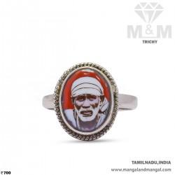 Majestic Silver Sai Baba Ring