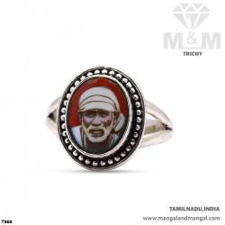 Verdant Silver Sai Baba Ring