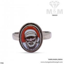 Tranquil Silver Sai Baba Ring