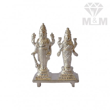 Alluring Silver Vishnu And Lakshmi Idol