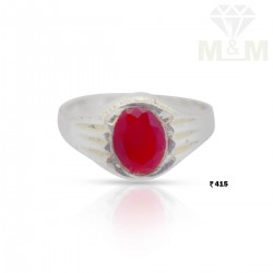 Superduper Silver Ruby Stone Ring