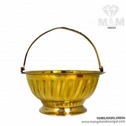 Brass Flower Basket for Pooja
