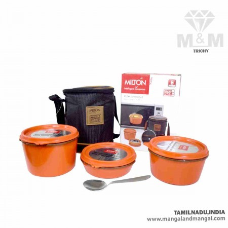 Milton Flexi Insulated Inner Stainless Steel Lunch Box with Expandable Bag and Spoon (2+1)