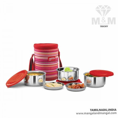 Milton Ribbon Lunch Box 3 Double Walled Insulated Stainless Steel Lunch Box with Bag