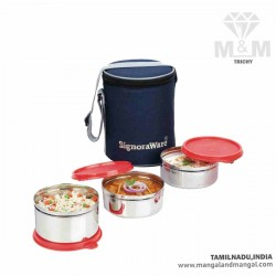 Signoraware Executive Steel Medium Lunch Box with Bag