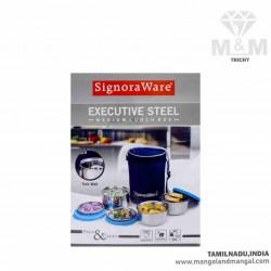 Signoraware Executive Twin Wall Medium Steel Lunch Box with Bag