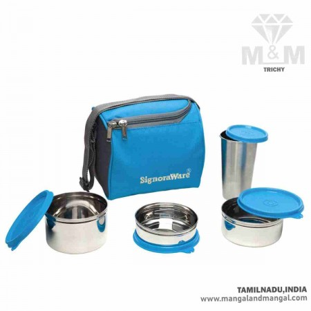 Signoraware Best Steel Lunch Box with Steel Tumbler and Bag