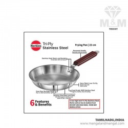 Hawkins SSF22 Tri-Ply Stainless Steel Induction Base Frying Pan 22cm Diameter, Silver