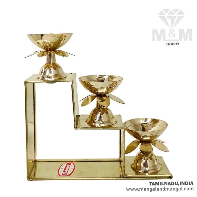 Brass 3 Step Fancy Diya Oil Lamp / Padi Vilakku