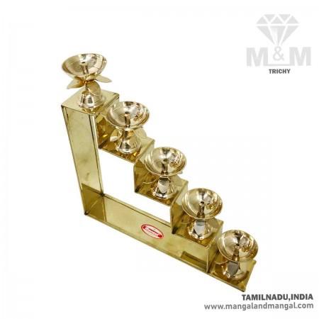 Brass 5 Step Fancy Diya Oil Lamp / Padi Vilakku / Decorative Oil Lamp