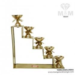 Brass 5 Step Fancy Diya Oil Lamp / Padi Vilakku