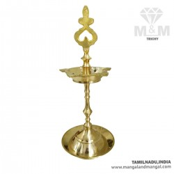 Brass Kumbakonam Traditional Hand Carved Kuthu Vilakku / Oil Lamp