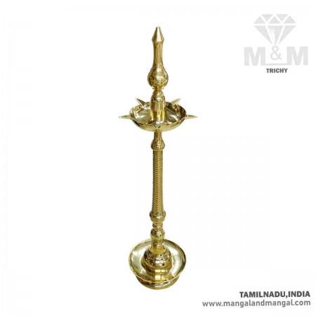 4.5 Feet Brass Kerala Fancy 5 Face Diya / Kuthu Vilakku / Deepak on Stand / Oil Lamp