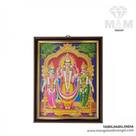 Handicraft Lord Murugan with Valli and Devasena Photo for Pooja and Wall
