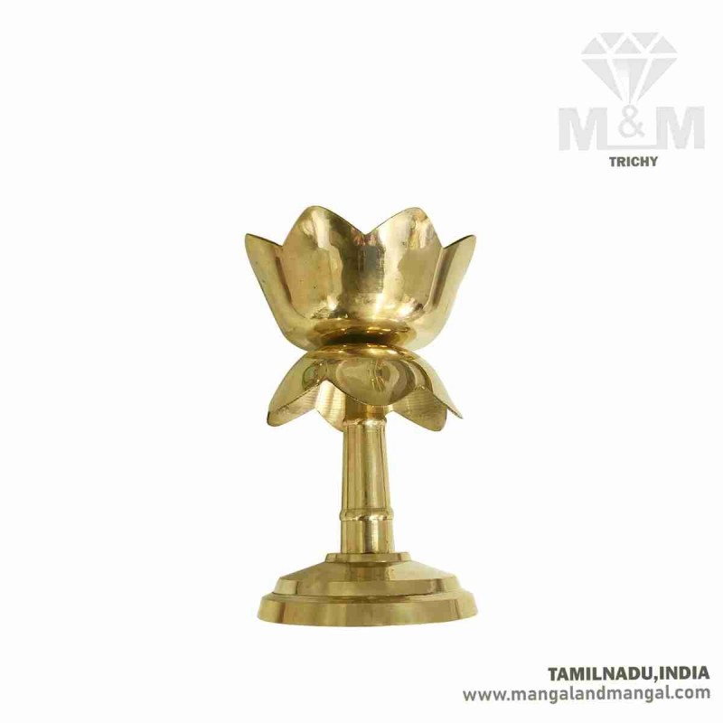Brass Lotus Agal Vilakku with Stand / Lotus Oil Lamp with Stand / Lotus Stand Akhand Diya / Lotus Fancy Vilakku