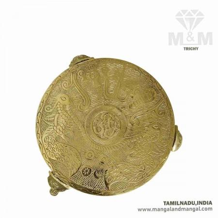 Brass Decorative Puja Stool / Deity Stand / Pooja Stand / Mukkali / Round Chowki - 9.5 Inch Dia
