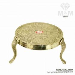 Brass Decorative Puja Stool / Deity Stand / Pooja Stand / Mukkali / Round Chowki