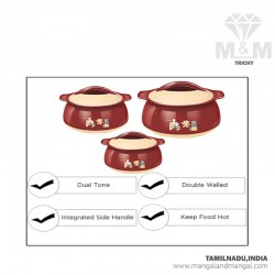 Milton Delish JR Gift Set 500/1000/1500 Inner Stainless Steel Thermoware Casserole Set Of 3 Pcs Brown, Pink, Red