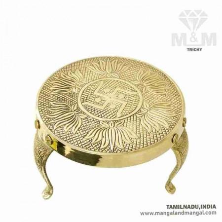 Brass Handcrafted Metal Mukkali / Pooja Chowki Stool / Lotus Flower Embossed Puja Stool