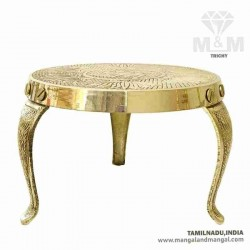 Brass Handcrafted Metal Plain Mukkali / Pooja Chowki Stool